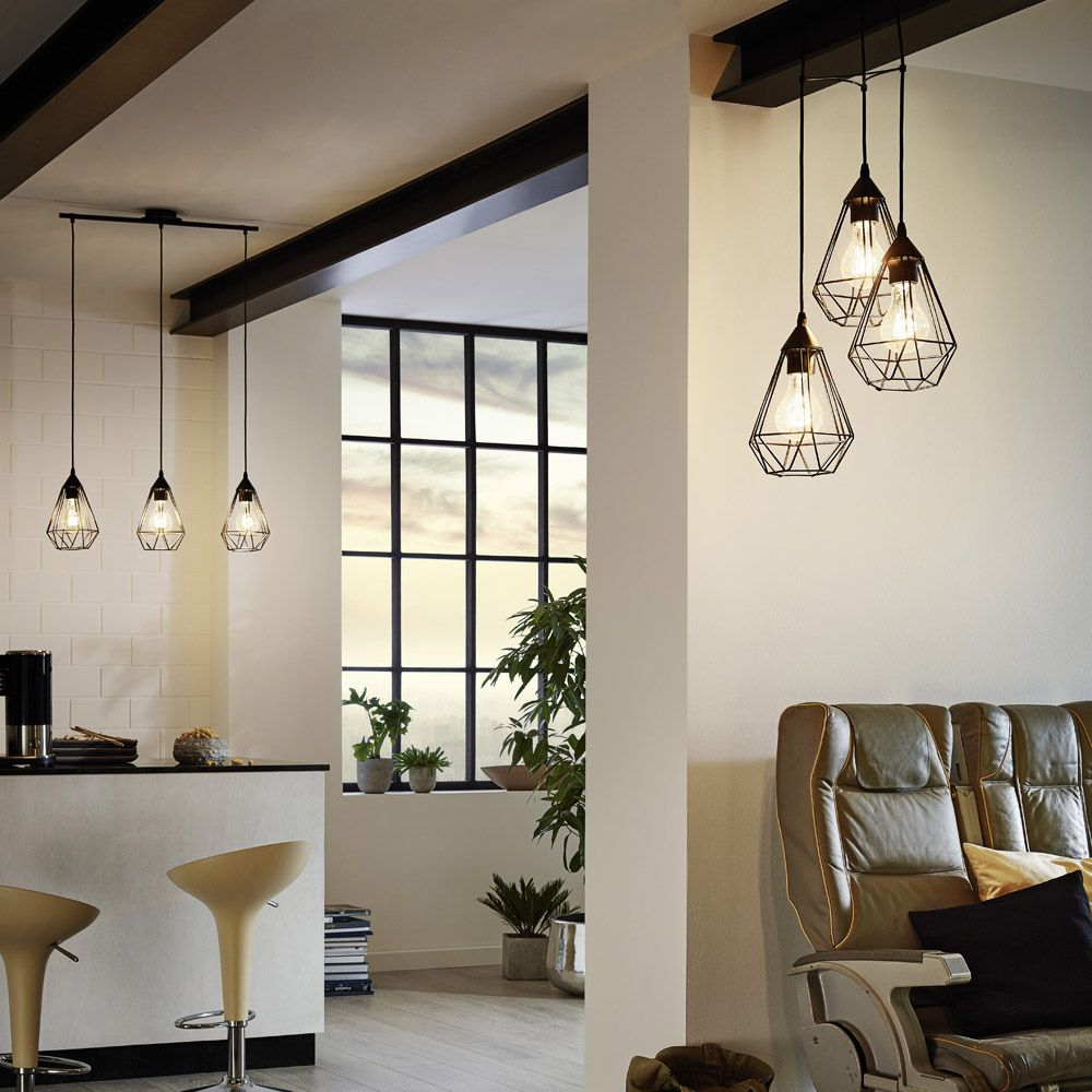Colgante de tres luces en color cobre o en negro - Lamparas de techo redondas ...