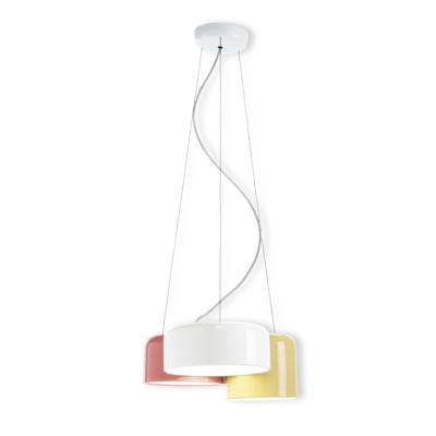 Colgante Zala - tres luces - blanco, beige, marsala