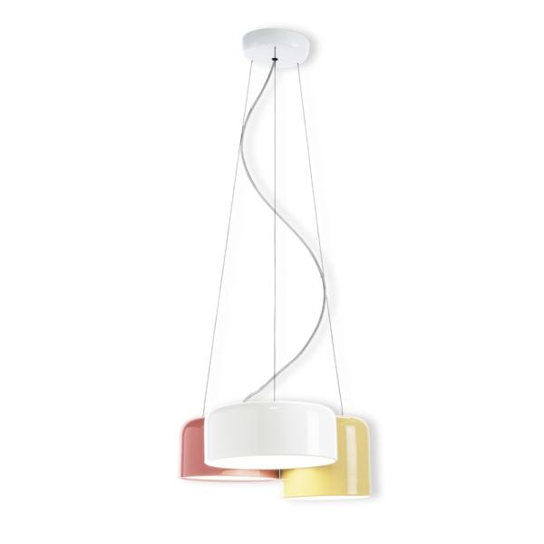 Colgante Zala – tres luces – blanco, beige, marsala