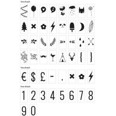 Set de símbolos y números