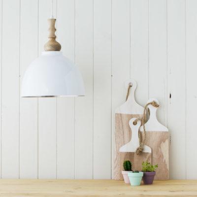 Colgante Oli y Moli - lámpara de madera y metal - Blanco