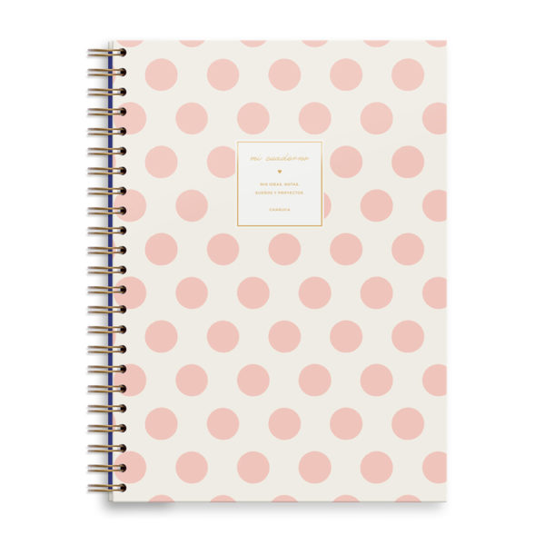 Cuaderno A4 – topos rosas