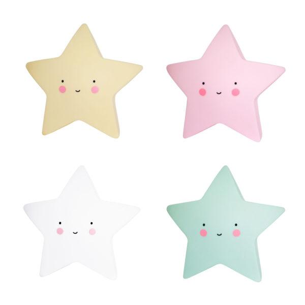 Quitamiedos estrellas – mint, rosa, blanca y amarillo