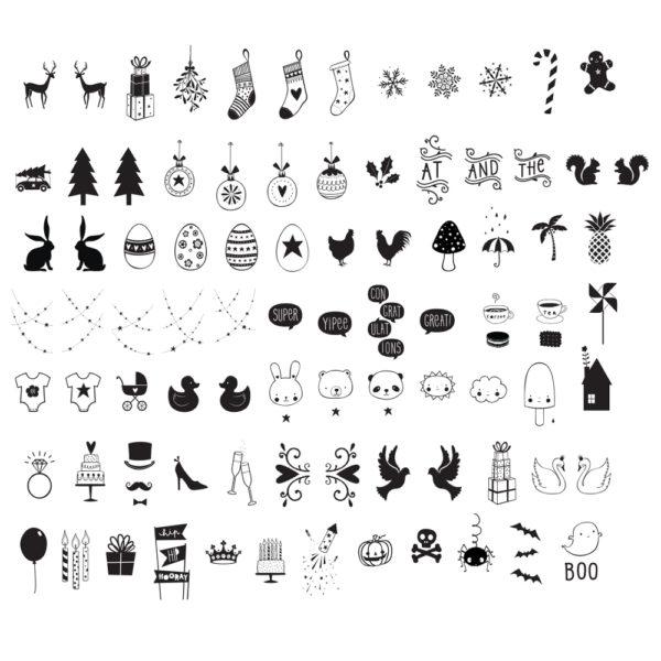 Set de símbolos de celebraciones para las cajas de luz