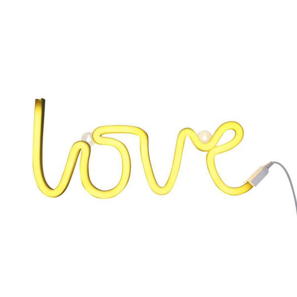 Luz de neon – love – amor – amarillo – cuarto infantil – iluminación niños – Liderlamp