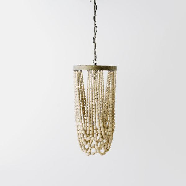 Lámpara Clio - metal y cuentas de madera - Liderlamp (1)