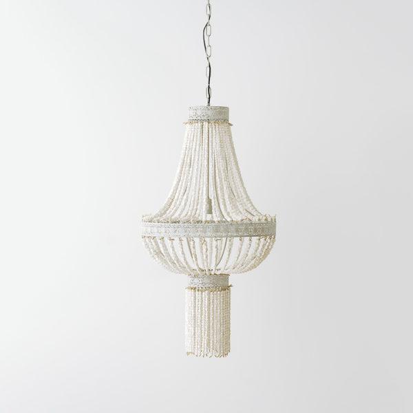 Lámpara Erato - metal y cuentas de madera blanca - Liderlamp (1)