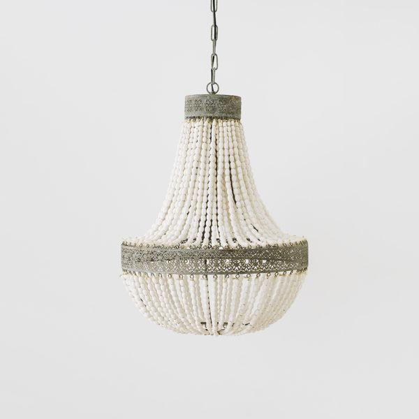 Lámpara Euterpe – metal y cuentas de madera blanca – Liderlamp (1)