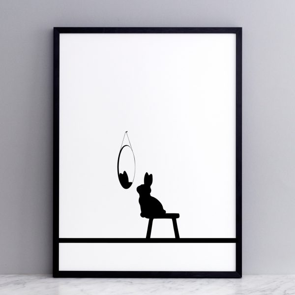 Lamina conejo - HAM made - blanco y negro - impresion manual - LIDERLAMP (12)