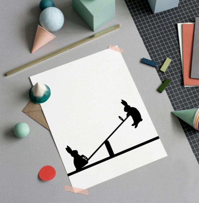 Lamina conejo – HAM made – blanco y negro – impresion manual – LIDERLAMP (4)