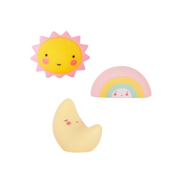 Mini sol, mini luna y mini arcoíris