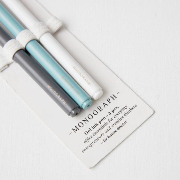 Set de tres bolígrafos – tinta de gel – tinta negra – Monograph – House Doctor – Mgnj054 – Liderlamp (3)