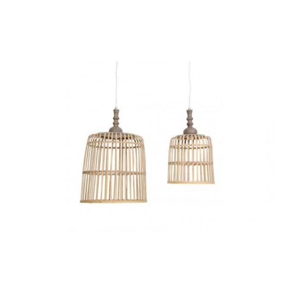 Lámpara colgante Malakka - cesta - madera natural - torneada - Liderlamp (2)