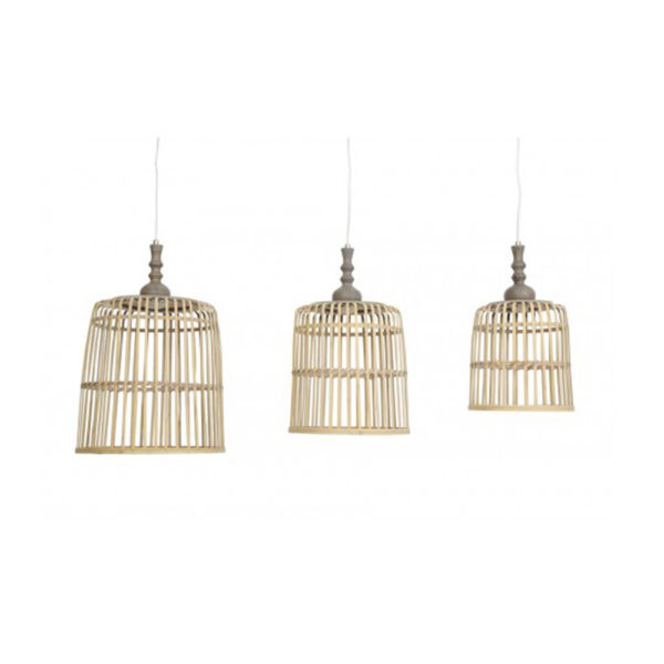 Lámpara colgante Malakka – cesta – madera natural – torneada – Liderlamp (2)
