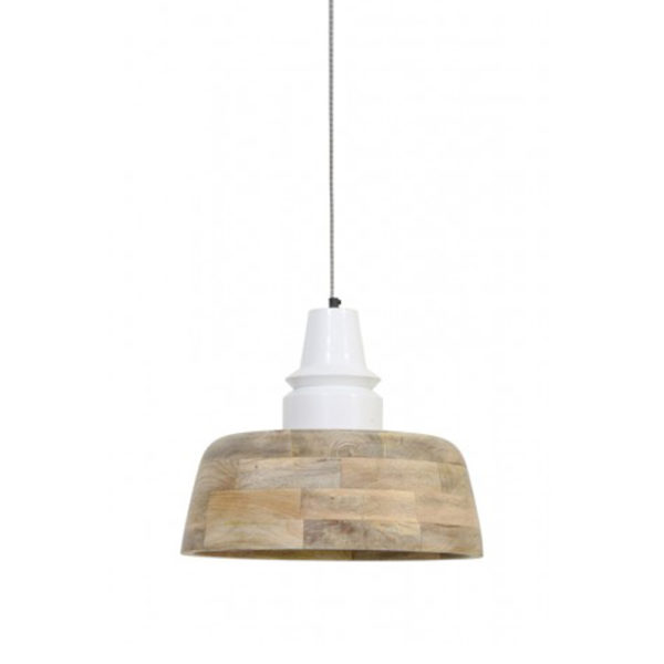 Lámpara colgante Marga – madera natural – blanco – Light and Living – Liderlamp