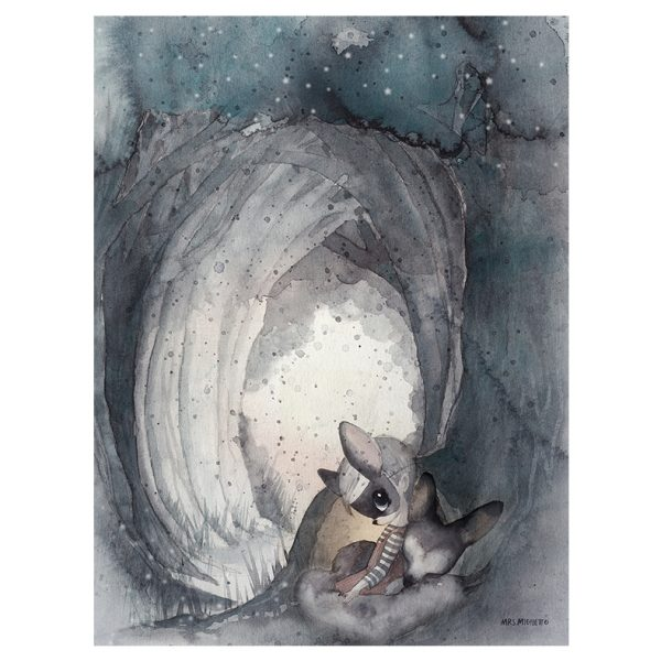 Laminas – Mrs Mighetto – the end of the forest – Liderlamp – Secret tunnel -30×40