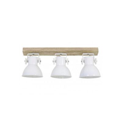 Plafon Elay - 3 focos - metal blanco - madera - Liderlamp (1)