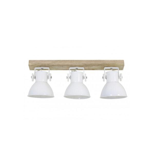 Plafon Elay – 3 focos – metal blanco – madera – Liderlamp (1)