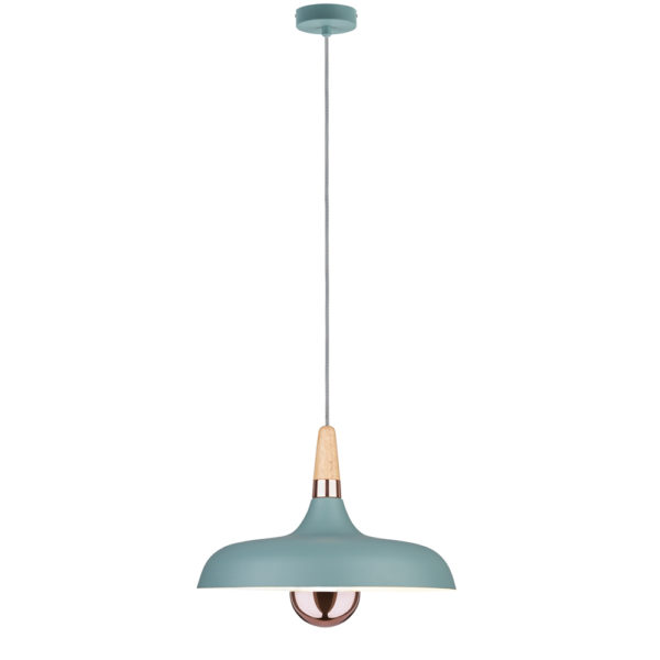 Colgante Juna – verde – madera y cobre – Liderlamp