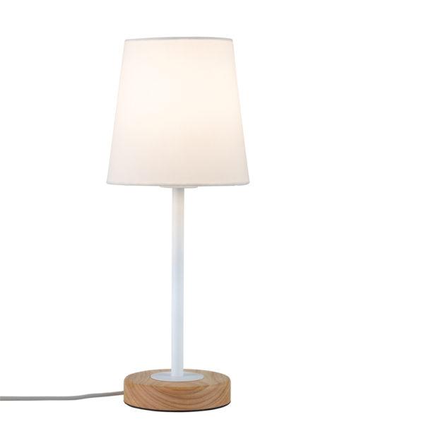 Sobremesa Stellan – base de madera – pantalla blanca – Liderlamp