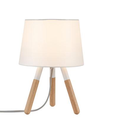 Sobremesa berit - patas madera - pantalla blanca - Liderlamp