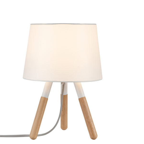Sobremesa berit – patas madera – pantalla blanca – Liderlamp