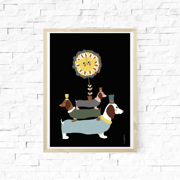 Lámina infantil – Amayadeeme – perros salchicha – nordico – Liderlamp (1)