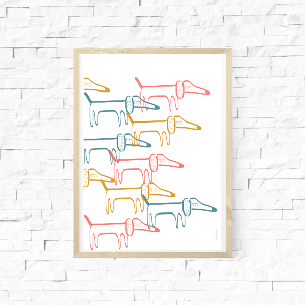 Lámina infantil – Amayadeeme – perros salchicha – nordico – Liderlamp (2)