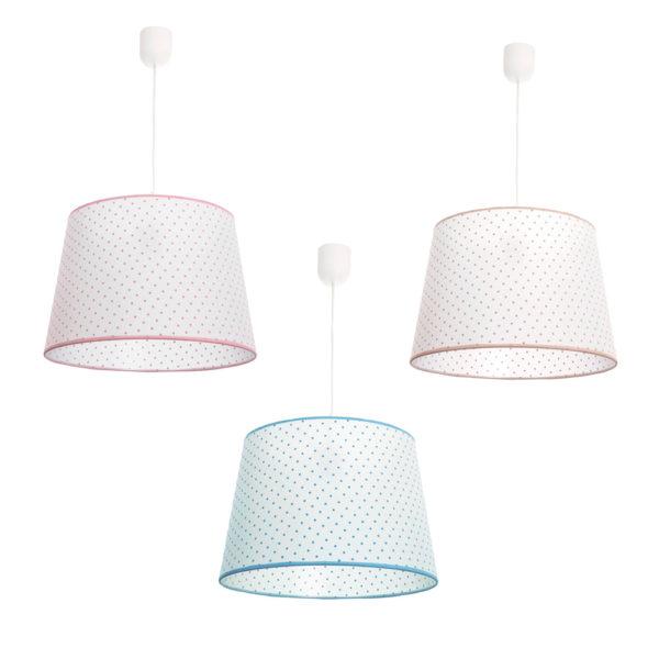 Lámpara colgante – pantalla de topos – textil – Fabrilamp – Liderlamp (2)