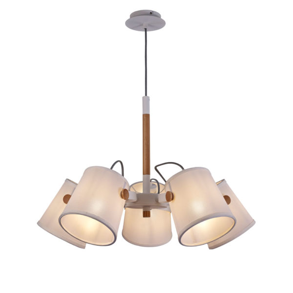 Lámpara de techo nórdica – 5 luces – pantalla textil – Liderlamp (2)