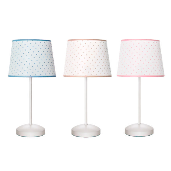 Lámpara sobremesa – luz auxiliar – pantalla topos – textil – Fabrilamp – Liderlamp (1)