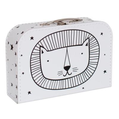 Maletín cabeza de león - cartón reciclado - ilustración - Liderlamp