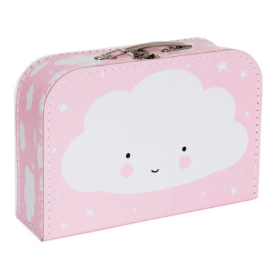 Maletín nube rosa - cartón reciclado - ilustración - Liderlamp