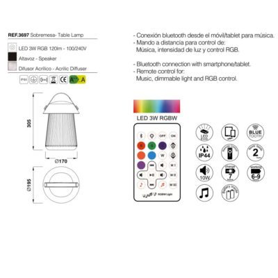 Altavoz y lámpara portatil Funghi – Mantra – Liderlamp (1)