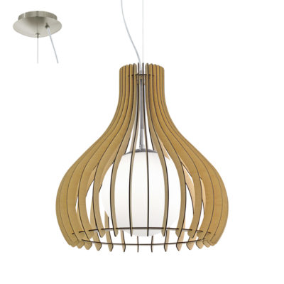 Colgante Tindori blanco - láminas de madera - Liderlamp