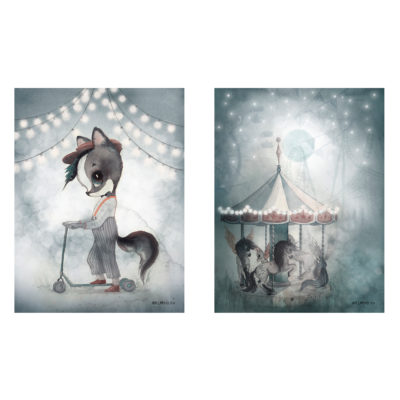 Set de laminas - William - Night Carousel - Ilustracion - Liderlamp