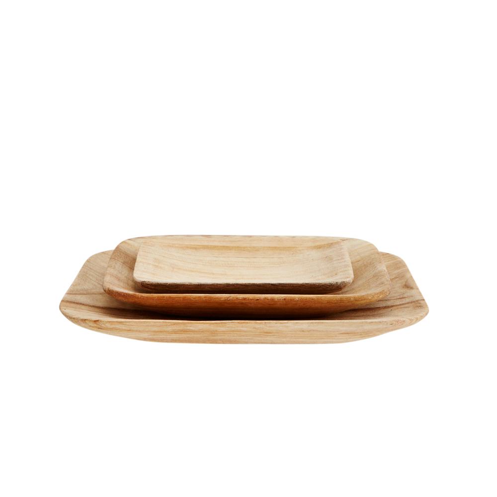 Set de platos cuadrados madera menaje madam stoltz for Set de platos
