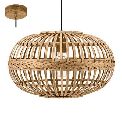 Colgante Amsfield esfera - madera natural trenzada - Eglo