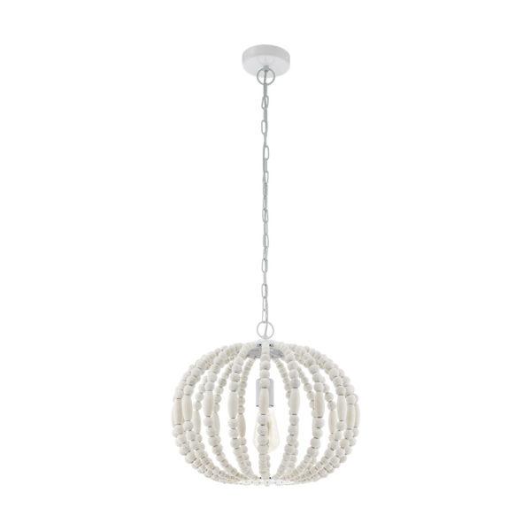Colgante Barrhill esfera – cuentas de madera – acabado en blanco – Eglo – Liderlamp (1)