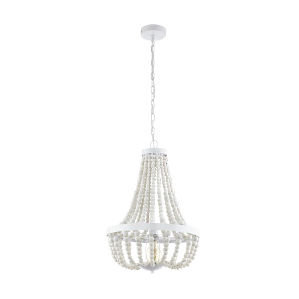 Colgante Barrhill gota – cuentas de madera – acabado en blanco – Eglo – Liderlamp (1)