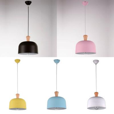 Lámpara colgante Bells - aluminio y madera - Gyemo
