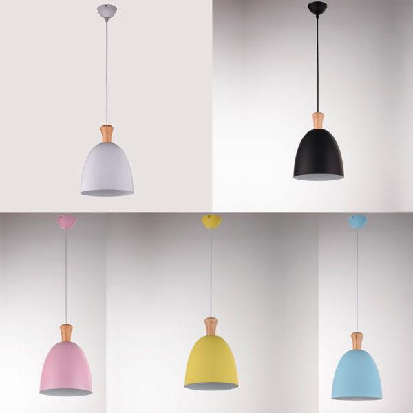 Lampara colgante Boid – aluminio y madera – Gyemo – Liderlamp (2)
