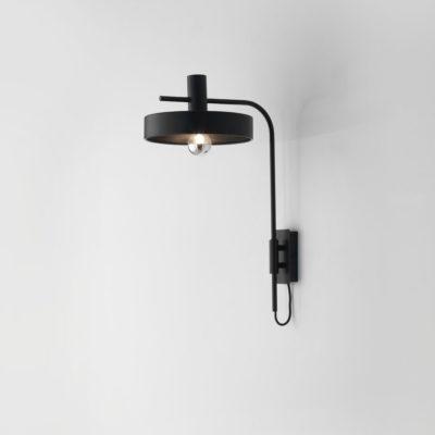 Aplique Aloa - estilo mid century - industrial - negro y dorado (1)