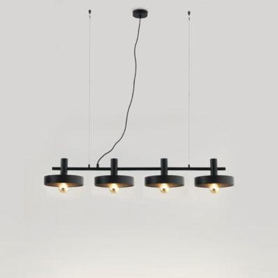Colgante Aloa - 4 luces - estilo mid century - industrial - negro y dorado