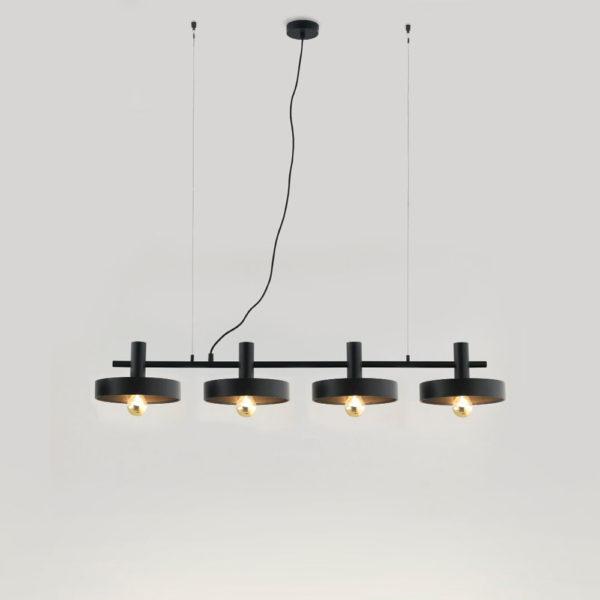 Colgante Aloa – 4 luces – estilo mid century – industrial – negro y dorado (1)