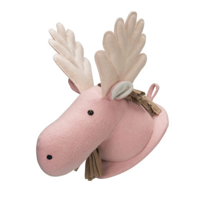 Cabeza de reno rosa para la pared - muñeco - habitación infantil