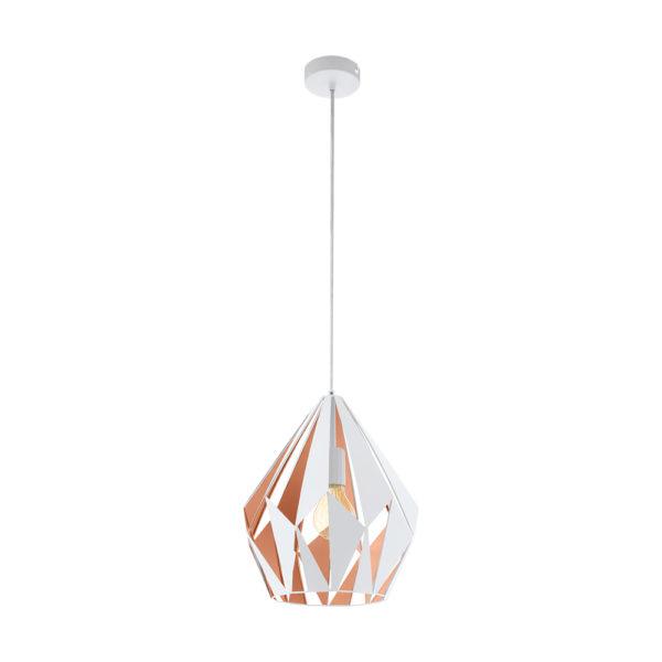 Colgante Carlton – lampara retro – acero – blanco y rosa – (2)