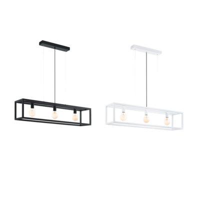 Lámpara Elswick - colgante industrial tres luces - acero - blanco y negro
