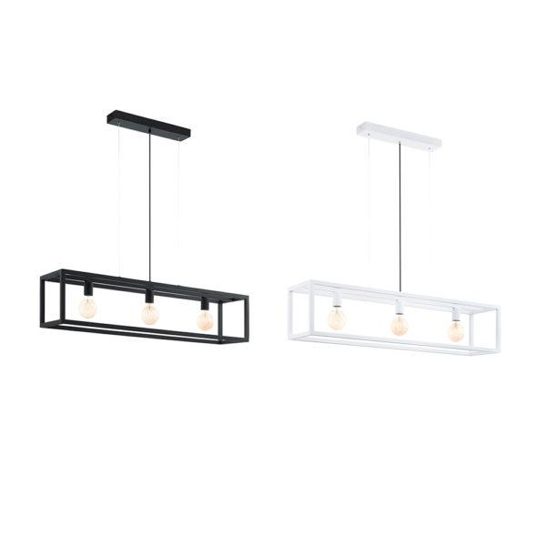 Lampara Elswick – colgante industrial tres luces – acero – blanco y negro (3)