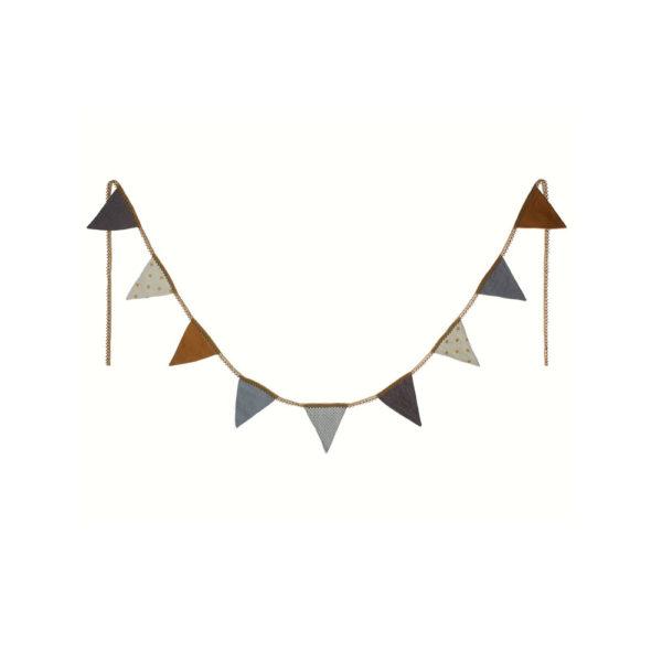 Guirnalda de banderines azules – Maileg – triangulos de tela – Liderlamp